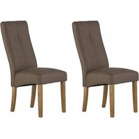Product photograph showing Denver Taupe Fabric Dining Chair In A Pair