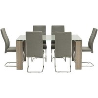 Devan Glass Dining Table Set In Grey With 6 Dining Chairs