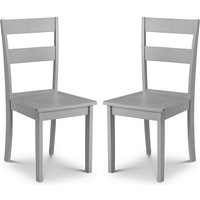 Product photograph showing Devanna Wooden Dining Chair In Grey Lacquer In A Pair