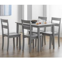 Product photograph showing Devanna Wooden Dining Table In Grey Lacquer With Four Chairs