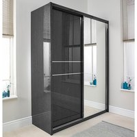 Product photograph showing Devito Wooden Sliding Wardrobe In Grey Gloss Grain Effect