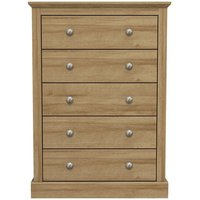 Product photograph showing Devon Wooden Chest Of Drawers In Oak With 5 Drawers