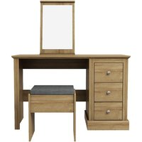 Product photograph showing Devon Wooden Dressing Table Set In Oak