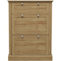 Product photograph showing Devon Wooden Shoe Storage Cabinet In Oak With 3 Doors