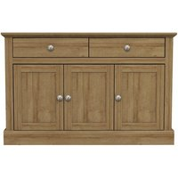 Product photograph showing Devon Wooden Sideboard In Oak With 3 Doors And 2 Drawers