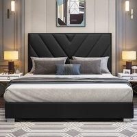 Dewitt Plush Velvet Single Bed In Black