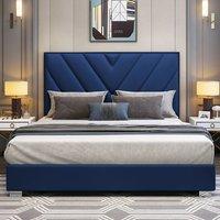 Dewitt Plush Velvet Single Bed In Blue