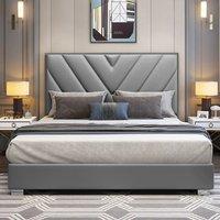 Dewitt Plush Velvet Single Bed In Grey