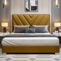 Dewitt Plush Velvet Single Bed In Mustard