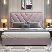 Dewitt Plush Velvet Single Bed In Pink