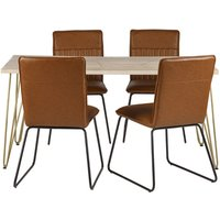 Product photograph showing Dhort Dining Table In Natural With 4 Brown Catila Chairs