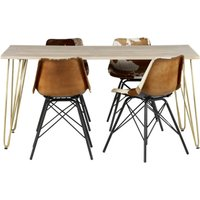 Product photograph showing Dhort Dining Table In Natural With 4 Cowhide Catila Chairs