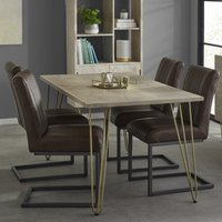 Product photograph showing Dhort Dining Table In Natural With 4 Dark Brown Catila Chairs