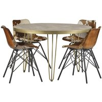 Dhort Round Dining Table In Natural With 4 Cowhide Catila Chairs