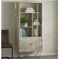 Product photograph showing Dhort Wooden Bookcase In Natural With 2 Doors 5 Shelves