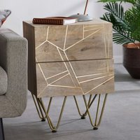 Product photograph showing Dhort Wooden Side Table In Natural With 2 Drawers