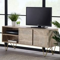 Product photograph showing Dhort Wooden Tv Stand In Natural With 2 Doors 1 Shelf