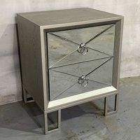 Diamond Wooden Bedside Cabinet In Vintage Champagne