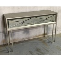 Product photograph showing Diamond Wooden Console Table In Vintage Champagne