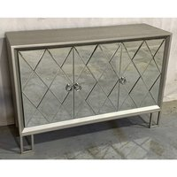 Diama Wooden Sideboard In Vintage Champagne With 3 Doors