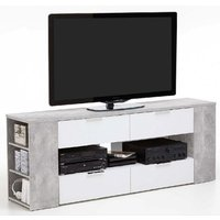 image-Diana LCD TV Stand In Sand Oak And White With 4 Drawers