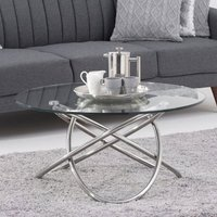 Product photograph showing Dina Glass Coffee Table In Clear With Stainless Steel Frame
