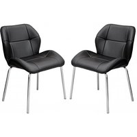 Product photograph showing Dinky Bistro Black Faux Leather Dining Chairs In Pair
