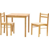 Product photograph showing Dinnite Wooden Dining Set In Natural With 2 Chairs