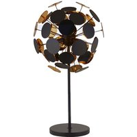 Product photograph showing Discus 3 Bulb Table Lamp In Black And Gold