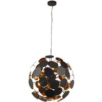 Discus Wall Hung 6 Pendant Light In Black And Gold