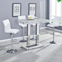 Product photograph showing Diva Bar Table In Gloss Marble Effect And 4 Ripple White Stools