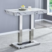 Product photograph showing Diva Rectangular Bar Table In Gloss Marble Effect