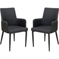 Product photograph showing Divina Black Fabric Upholstered Carver Dining Chairs In Pair