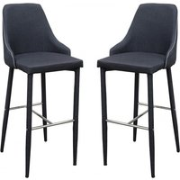 Product photograph showing Divina Charcoal Fabric Upholstered Bar Stools In Pair