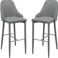 Product photograph showing Divina Grey Fabric Upholstered Bar Stools In Pair