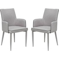 Product photograph showing Divina Grey Fabric Upholstered Carver Dining Chairs In Pair