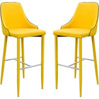 Product photograph showing Divina Yellow Fabric Upholstered Bar Stools In Pair