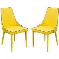 Product photograph showing Divina Yellow Fabric Upholstered Dining Chairs In Pair