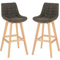 Product photograph showing Diya Grey Faux Leather Bar Stools In Pair