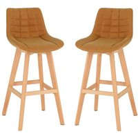 Product photograph showing Diya Mustard Faux Leather Bar Stools In Pair