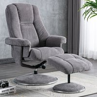 Product photograph showing Dollis Fabric Swivel Recliner Chair And Footstool In Ash