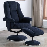 Product photograph showing Dollis Fabric Swivel Recliner Chair And Footstool In Blue
