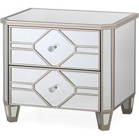 Dominga Mirrored Bedside Cabinet In Silver With Two Drawers