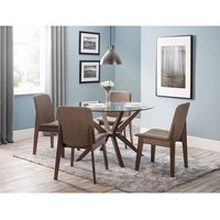 Domino Glass Dining Table In Clear With 4 Newbury Dining Cha
