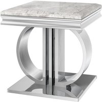 Product photograph showing Donatello Marble Side Table In Light Grey