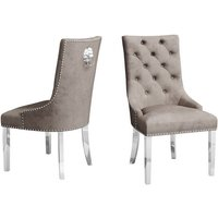 Product photograph showing Donatello Mink Velvet Fabric Dining Chairs In Pair
