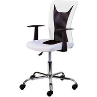 Product photograph showing Donny Polyther Office Chair In White With Arms