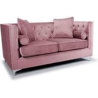 Product photograph showing Dorchester Brushed Velvet 2 Seater Sofa In Pink Blush