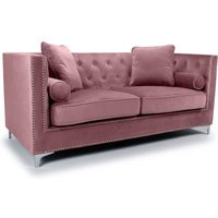 Product photograph showing Dorchester Brushed Velvet 3 Seater Sofa In Pink Blush