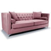Product photograph showing Dorchester Brushed Velvet 4 Seater Sofa In Pink Blush